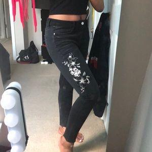 Black Jeans w/ Floral Design